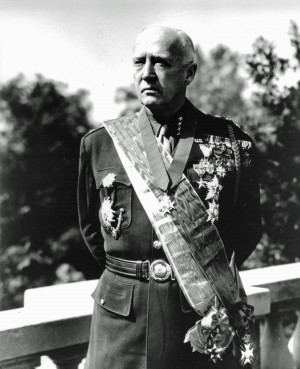 George S. Patton with medals at Lake Vineyard, June 1945. General George S. Patton Jr. Collection.