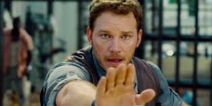 Chris Pratt trying to reason with his raptor friends.