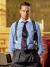 "Michael Douglas and his Gordon Gekko suspenders in Oliver Stone's ""Wall Street"""