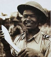 A WWII Gurkha with famous kukri knife