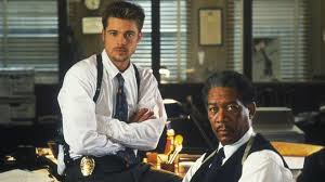 "Brad Pitt and Morgan Freeman in ""Se7en"""